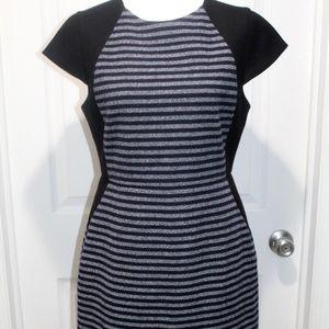 J Crew Wool Poly Blend Striped Brigitte Midi Dress